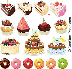 Set of sweets and cakes - vector il
