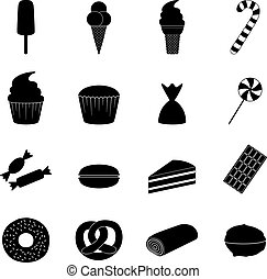 Set of sweets icons, vector illustration