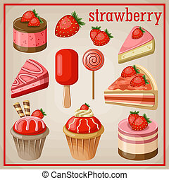 Set of sweets with strawberry. vector illustration