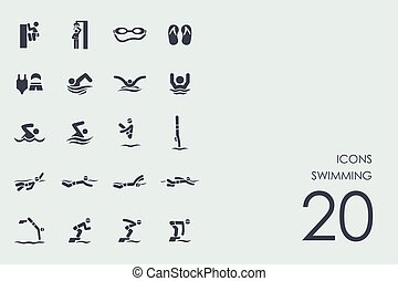 Set of swimming icons
