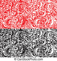 Set of swirl ornamental seamless patterns in white, red and black colors.