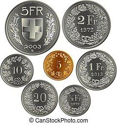 Set of swiss money Francs coins