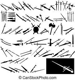 Set of swords on white background