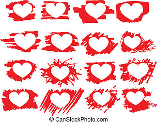 Set of symbol brush paint hearts