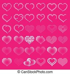 Set of symbol dots pink heart, vector