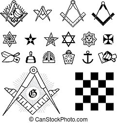 Set of symbol freemason masonic mason vector illustration silhouettes