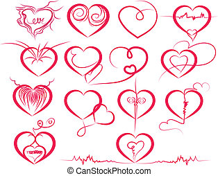 Set of symbol hearts