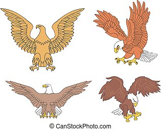 Set of symbolic U.S. eagles. Vector illustrations.