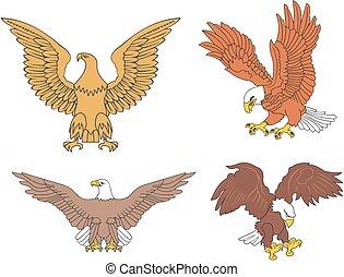 Set of symbolic U.S. eagles. Vector illustrations.