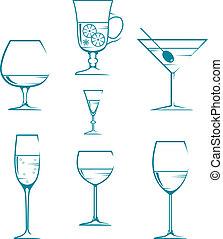 Set of symbols and icons glasses