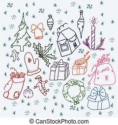 Set of symbols Christmas and winter.