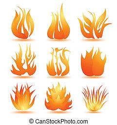 set of symbols of fire