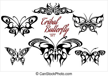 Set of symmetric butterfly tattoos. Vector illustrations.