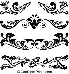 set of four black abstract patterns on a white background