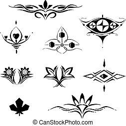 symmetrical floral decorative elements