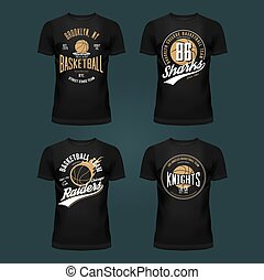 Set of t-shirt basketball print or cloth design