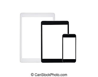 set of tablet computers and smartphone with blank screens isolated on white