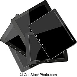 Set of tablet computers with black screen