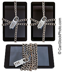 set of tablet pc closed by combination lock