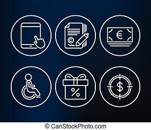 Tablet pc, Euro currency and Copywriting icons. Disabled, Discount offer and Dollar target signs.