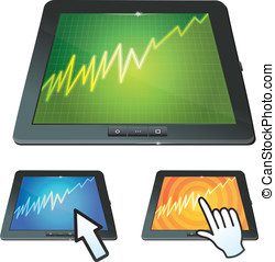 set of tablet pc with graph on screen