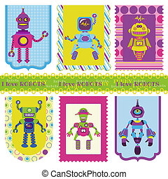 Set of Tags - Cute little Robots - for your design or scrapbook - in vector