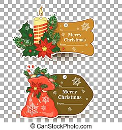 Set of tags for gifts for Christmas. In a tag sticks, snowman, lights, tree, candle, twig,