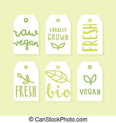 Set of tags for packaging design.