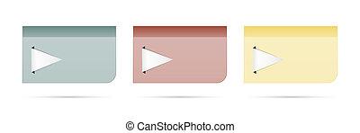 set of tags with big arrow