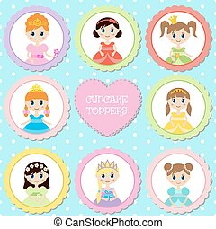 Set of tags with princess theme.
