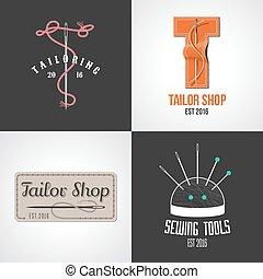 Set of tailor, atelier vector logo, icon, symbol, emblem, sign