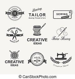 Tailor - Set of tailor labels, emblems and design elements. ...