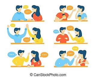 Set of talking people