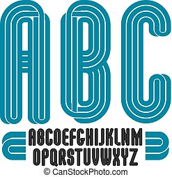 Set of tall vector upper case funky English alphabet letters isolated, best for use in logotype design for carnival announcement