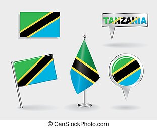 Set of Tanzanian pin, icon and map pointer flags. Vector illustration.