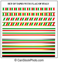Set of tapes with flags Italy. Illustration.