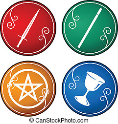 set of tarot symbol - set of colorful tarot symbol