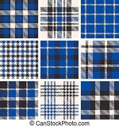 set of tartan seamless pattern, checkered pattern, plaid...