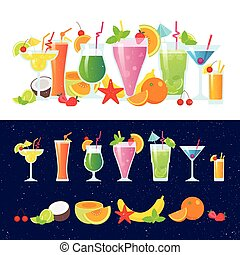 Set of tasty colorful cocktails vector flat design isolated on white background. Summer cocktails and fruits vector banner on dark background.