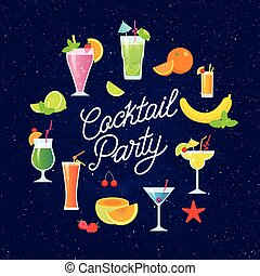 Set of tasty colorful cocktails vector flat design isolated on dark blue background. Summer cocktails and fruits vector banner with lettering. Invitation to the cocktail party.