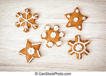 Set of tasty gingerbread stars, Christmas theme
