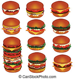 set of tasty hamburgers with meat, cheese, tomato