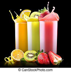 tasty summer fruits with juice in glass - set of tasty...