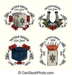 Set of tattoo design emblems