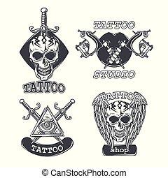 Set of tattoo emblems, labels, badges