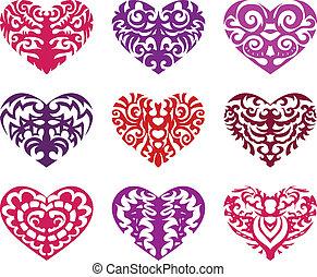Set of tattoo hearts