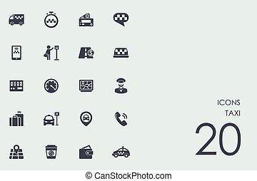 Taxi Cab Car Hire Set Of Vector Logo Icon App Emblem Clip