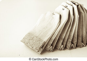 Set of tea bags on the white background