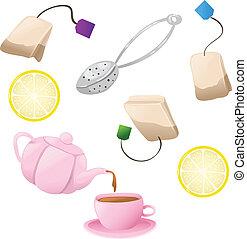 Set of tea icons