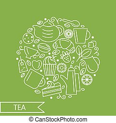 Set of tea theme. Line art draw icons in the circle. Vector illustration